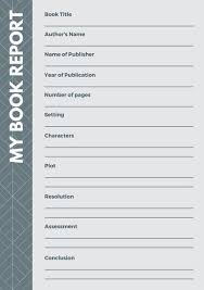 Book Report Templates Middle School Grey And White Modern Middle School Book Report Templates By Canva