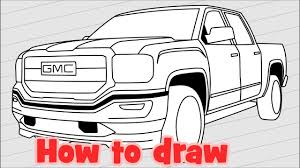 Sketch Car Drawing - GMC Sierra 1500 Denali 2018 Pickup Truck - YouTube