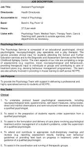 Job Description Psychology Team Medical Team Therapy Team