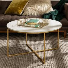 faux marble gold coffee table with x base