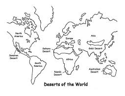 Small Picture Deserts of the World in World Map Coloring Page Download Print