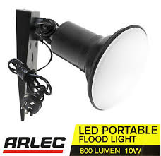 arlec 10w led portable floodlight ip65 cool daylight 5700k with cord plug diy