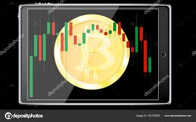 Realistic Smart Tablet Computer Bitcoin Coin Crypto Currency