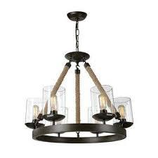 6 light bronze rustic rope glass chandelier