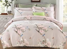 63 pink flowers and blue birds print 4 piece cotton bedding sets duvet covers
