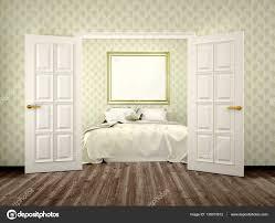 Schlafzimmer Mit Offenen Türen Und Eine Leinwand An Der Wand 3d