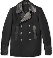balmain balmain leather trimmed wool and cashmere blend peacoat