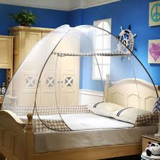 Free-Standing Pop Up Mosquito Net Tent Bed Canopy with Bottom Floor Twin Full Queen Size for Adults Kids Teens Students College Dorm Bedding