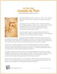 leonardo da vinci printable biography leonardo da vinci 1452 1519 italian renaissance artist
