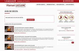 interface du site internet sublimatorium florian leclerc de nice page avis de décès