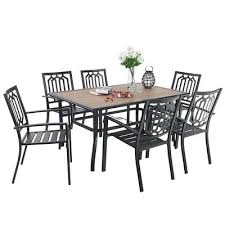 outdoor patio dining table wood slat