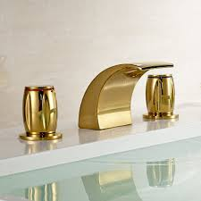 gold brass waterfall bathroom sink faucet double s widespread mixer tap com