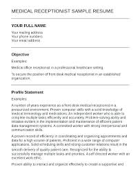Dental Receptionist Resume Objective Resume Template For Receptionist Resume Examples For Receptionist 92