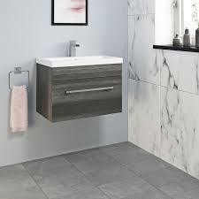 aurora charcoal grey wall hung drawer vanity unit basin 600mm width