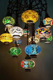 16 piece multi colour turkish chandelier middle