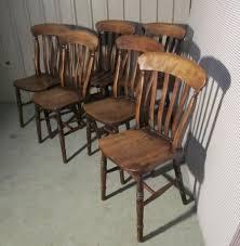 set of 6 victorian slat back farmhouse kitchen chairs