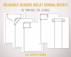 Bullet Journal Template Pdf Cute Page Template 5 Pages Bullet Journal Printable Etsy