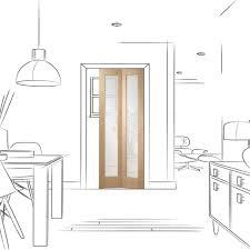 internal oak unfinished pattern 10 2l bi fold door with clear gl gop10