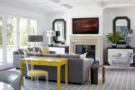 Image Light Fixtures Gray Living Room With Yellow Desk Architectural Digest Best Living Room Lighting Ideas Architectural Digest