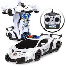 Remote Control Police Car With Working Lights And Siren Best Choice Products 1 12 Scale Transforming Rc Police Car Robot Toy Sports Remote Control Car W Lights Siren White