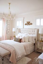 bed room pink. Interesting Pink Pink And Gold Bedroom Featuring Tufted Wingback Headboard By Randi Garrett  Design For Bed Room