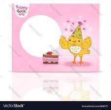 Cute Happy Birthday Postcard Template With A Bird