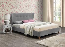 Modern Retro Bedroom Birlea Kensington Grey Fabric 4ft6 135cm Double Bed Frame Modern