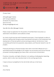 Certified Public Accountant Cover Letter Example Resume Genius