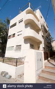 Israel, Tel Aviv, Renovated Bauhaus building at 3 Nachmani Street ...