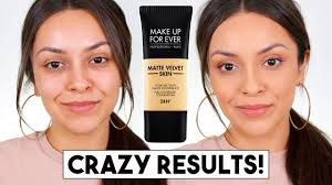 makeup forever matte velvet skin foundation first impression trinaduhra beauty