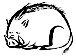 2019年亥年寝ている可愛いイノシシの墨絵イラスト無料年賀状素材