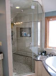 frameless partial neo angle steam enclosure with clear glass and brushed nickel hardware with frameless glass shower door