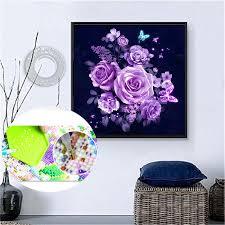 30*30cm DIY <b>Diamond</b> Embroidery Flowers <b>Painting</b> Rose Round ...