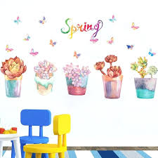 frozen wall border colorful pencil flowers grass erfly wall border decal sticker home decor wall baseboard art mural poster potted plant paper in wall