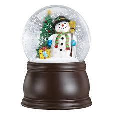 Lighted Snowman Snow Globe Old World Christmas Gleeful Snowman Snow Globe With Blower Wood Finish Standard