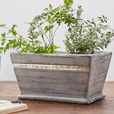 white grain personalised wooden plant holder personalised wooden pot planter