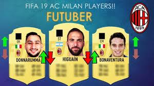 AC Milan players FIFA 19 ratings