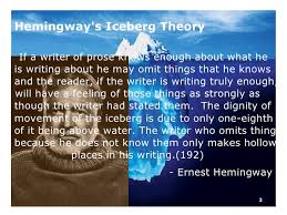 hemingway s iceberg theory advice for amateur writers teresa  hemingway s iceberg theory advice for amateur writers teresa crider creative writer