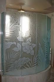 glass shower design. Glass Shower Enclosures Etched Tropical Style Flowers Foliage Hibiscus Paradise Sans Soucie Design H