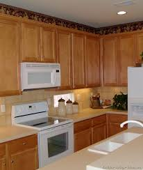 Small Picture Traditional Light Wood Kitchen Cabinets with White Appliances