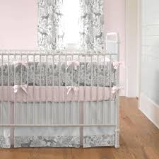 pink and gray woodland crib bedding