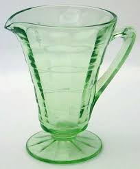 anchor hocking block optic green footed creamer