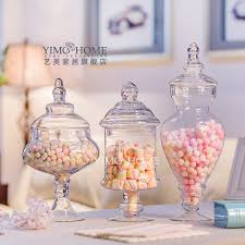 Decorative Jars With Lids Continental transparent glass candy jar with lid wedding ceremony 43