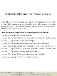 Sample Resume For Retail Sales Top 8 Retail Sales Supervisor Resume Samples