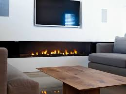 stunning rectangular long gas fireplace design set on under the tv wall mounted as well wooden table and gray fabric sofa set stunning gas fireplace ideas