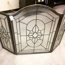 3 pc pewter finished leaded glass fireplace screen sold