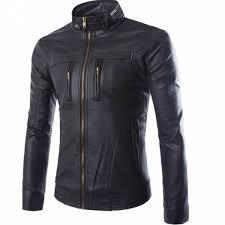 ihambing ang pinakabagong mens stand collar pu leather jacket high quality zipper decorate slim biker motorcycle