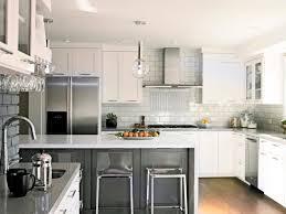 transitional kitchen with bar design featured subway backsplash tile and light grey quartz countertop elegant