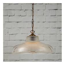 london large ribbed glass hanging ceiling pendant on antique brass suspension