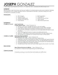 Mechanic Resume Template Wonderful Instrument Technician Resume Technician Resume Template Instrument